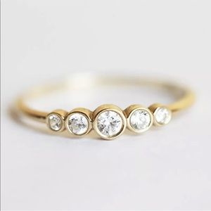 Jewelry - 14k yellow gold filled ring wedding band 5 stone